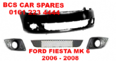 FORD FIESTA  MK 6  ZETEC  FRONT BUMPER   ( inc grills for Fog lights )    2006 - 2007 - 2008  NEW